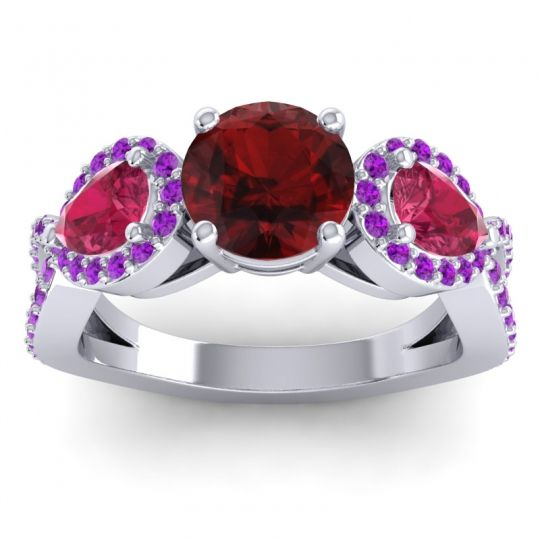 Garnet Three Stone Pave Varsa Ring with Ruby and Amethyst in 18k White Gold