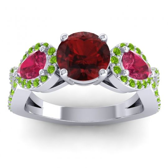 Garnet Three Stone Pave Varsa Ring with Ruby and Peridot in Palladium