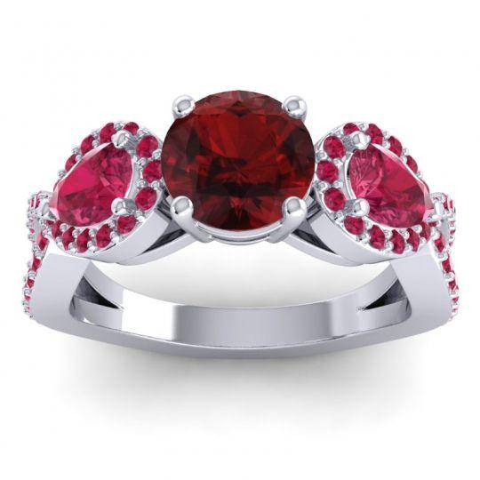 Garnet Three Stone Pave Varsa Ring with Ruby in 18k White Gold