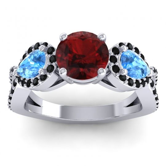 Garnet Three Stone Pave Varsa Ring with Swiss Blue Topaz and Black Onyx in 18k White Gold