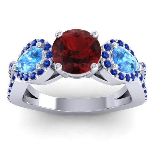 Garnet Three Stone Pave Varsa Ring with Swiss Blue Topaz and Blue Sapphire in Platinum