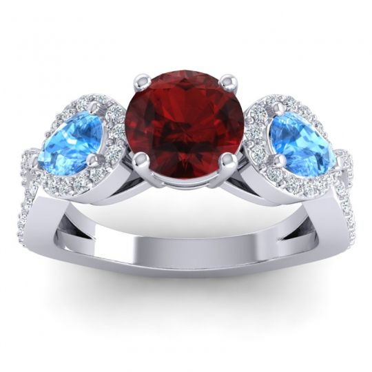 Three Stone Pave Varsa Garnet Ring with Swiss Blue Topaz and Diamond in 14k White Gold