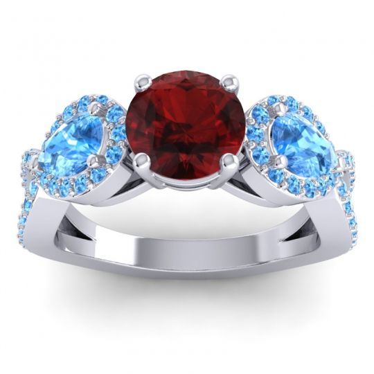 Three Stone Pave Varsa Garnet Ring with Swiss Blue Topaz in 18k White Gold