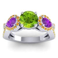 Three Stone Pave Varsa Peridot Ring with Amethyst and Citrine in Platinum