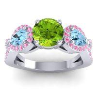 Three Stone Pave Varsa Peridot Ring with Aquamarine and Pink Tourmaline in Platinum