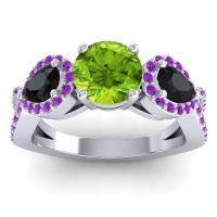 Three Stone Pave Varsa Peridot Ring with Black Onyx and Amethyst in 18k White Gold