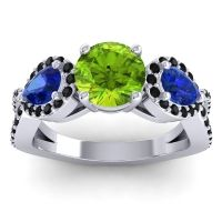 Three Stone Pave Varsa Peridot Ring with Blue Sapphire and Black Onyx in 18k White Gold