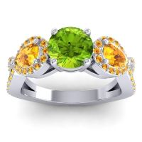 Three Stone Pave Varsa Peridot Ring with Citrine in 14k White Gold