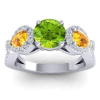 Three Stone Pave Varsa Peridot Ring with Citrine and Diamond in Palladium