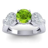 Three Stone Pave Varsa Peridot Ring with Diamond in Platinum