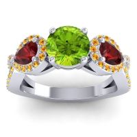 Three Stone Pave Varsa Peridot Ring with Garnet and Citrine in 18k White Gold