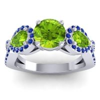 Three Stone Pave Varsa Peridot Ring with Blue Sapphire in 14k White Gold