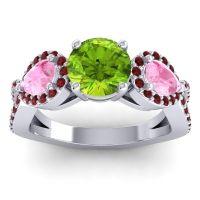 Three Stone Pave Varsa Peridot Ring with Pink Tourmaline and Garnet in Platinum