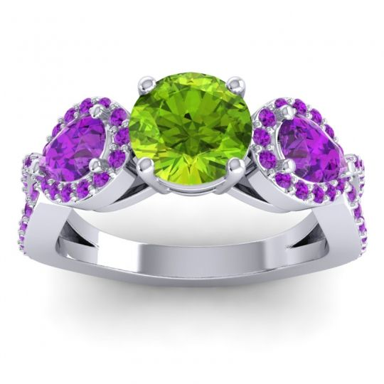 Peridot Three Stone Pave Varsa Ring with Amethyst in Platinum