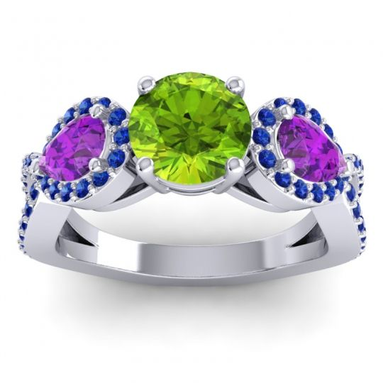 Peridot Three Stone Pave Varsa Ring with Amethyst and Blue Sapphire in 18k White Gold