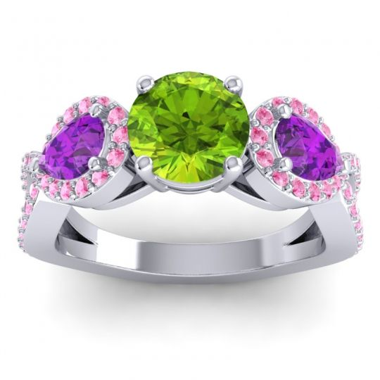 Peridot Three Stone Pave Varsa Ring with Amethyst and Pink Tourmaline in Platinum