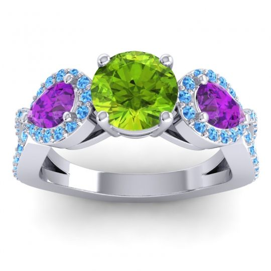 Peridot Three Stone Pave Varsa Ring with Amethyst and Swiss Blue Topaz in 14k White Gold