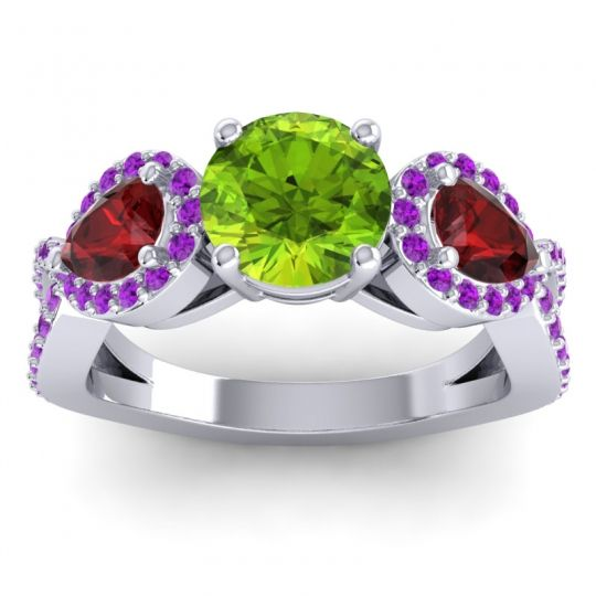 Peridot Three Stone Pave Varsa Ring with Garnet and Amethyst in Platinum