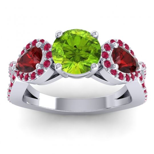 Three Stone Pave Varsa Peridot Ring with Garnet and Ruby in 14k White Gold