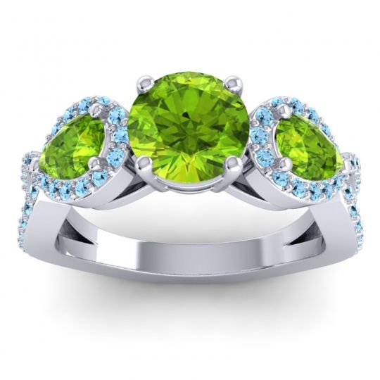Three Stone Pave Varsa Peridot Ring with Aquamarine in 18k White Gold
