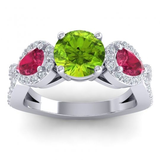 Three Stone Pave Varsa Peridot Ring with Ruby and Diamond in Platinum