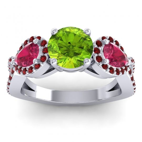 Three Stone Pave Varsa Peridot Ring with Ruby and Garnet in 18k White Gold