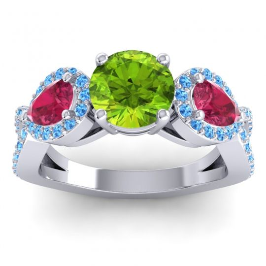 Three Stone Pave Varsa Peridot Ring with Ruby and Swiss Blue Topaz in 18k White Gold