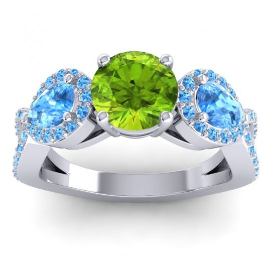 Three Stone Pave Varsa Peridot Ring with Swiss Blue Topaz in Palladium