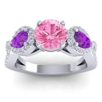 Three Stone Pave Varsa Pink Tourmaline Ring with Amethyst and Diamond in Platinum