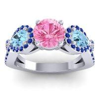 Three Stone Pave Varsa Pink Tourmaline Ring with Aquamarine and Blue Sapphire in Platinum