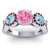 Three Stone Pave Varsa Pink Tourmaline Ring with Aquamarine and Garnet in Palladium