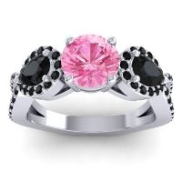 Three Stone Pave Varsa Pink Tourmaline Ring with Black Onyx in 18k White Gold