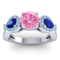 Three Stone Pave Varsa Pink Tourmaline Ring with Blue Sapphire and Aquamarine in Palladium