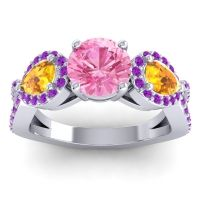Three Stone Pave Varsa Pink Tourmaline Ring with Citrine and Amethyst in 18k White Gold