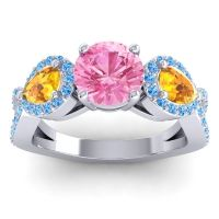 Pink Tourmaline Three Stone Pave Varsa Ring with Citrine and Swiss Blue Topaz in 14k White Gold