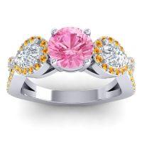 Three Stone Pave Varsa Pink Tourmaline Ring with Diamond and Citrine in Platinum
