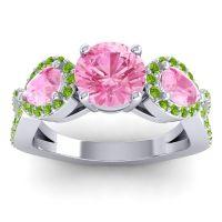 Three Stone Pave Varsa Pink Tourmaline Ring with Peridot in Platinum