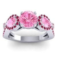Three Stone Pave Varsa Pink Tourmaline Ring with Ruby in 14k White Gold