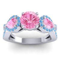 Three Stone Pave Varsa Pink Tourmaline Ring with Swiss Blue Topaz in Platinum