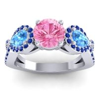 Three Stone Pave Varsa Pink Tourmaline Ring with Swiss Blue Topaz and Blue Sapphire in 18k White Gold