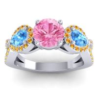 Three Stone Pave Varsa Pink Tourmaline Ring with Swiss Blue Topaz and Citrine in 14k White Gold