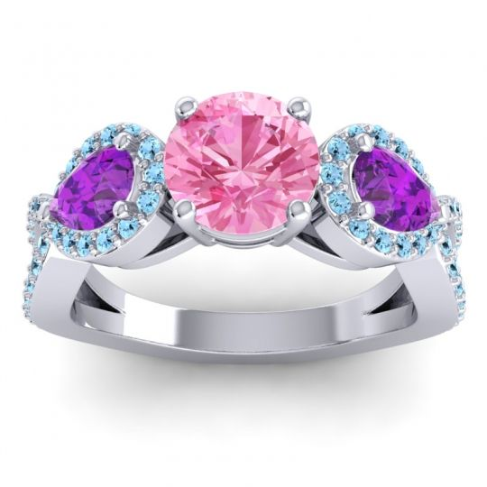 Three Stone Pave Varsa Pink Tourmaline Ring with Amethyst and Aquamarine in 18k White Gold