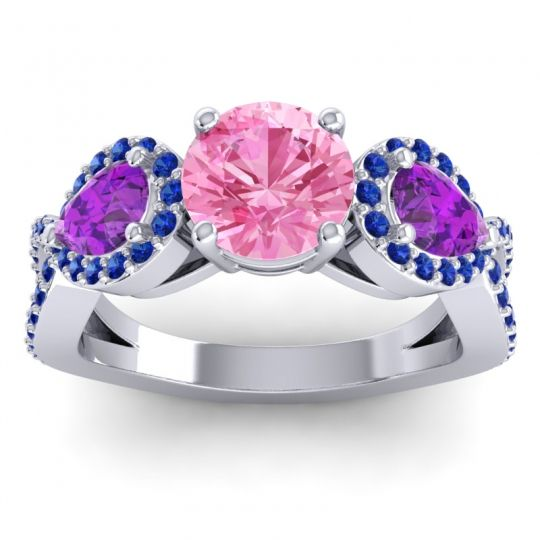 Three Stone Pave Varsa Pink Tourmaline Ring with Amethyst and Blue Sapphire in 14k White Gold