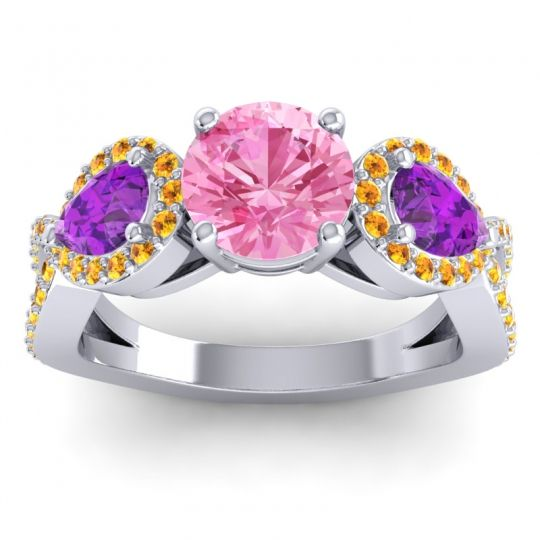 Three Stone Pave Varsa Pink Tourmaline Ring with Amethyst and Citrine in 18k White Gold