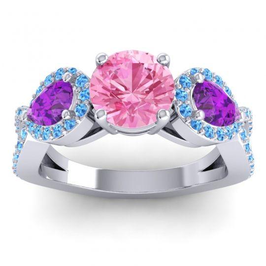 Pink Tourmaline Three Stone Pave Varsa Ring with Amethyst and Swiss Blue Topaz in Palladium
