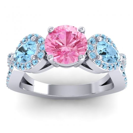 Pink Tourmaline Three Stone Pave Varsa Ring with Aquamarine in 18k White Gold