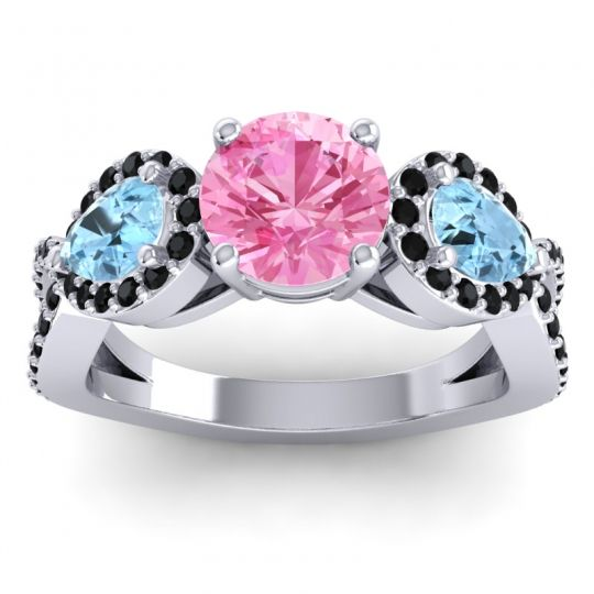 Pink Tourmaline Three Stone Pave Varsa Ring with Aquamarine and Black Onyx in Platinum