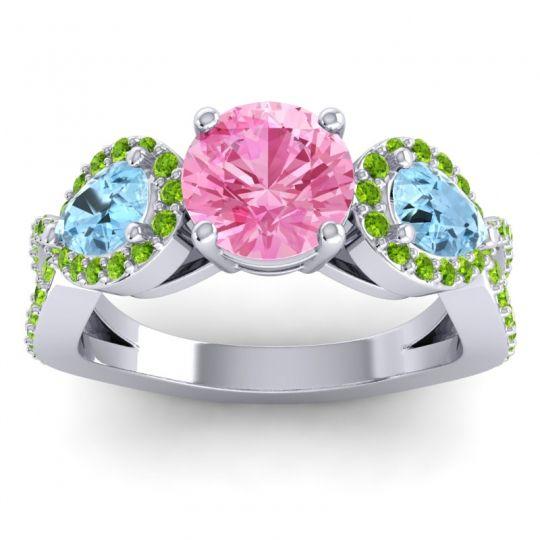 Pink Tourmaline Three Stone Pave Varsa Ring with Aquamarine and Peridot in Platinum