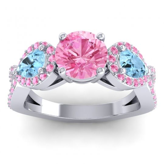 Pink Tourmaline Three Stone Pave Varsa Ring with Aquamarine in 18k White Gold