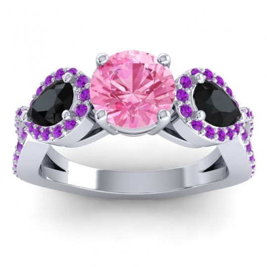 Three Stone Pave Varsa Pink Tourmaline Ring with Black Onyx and Amethyst in Platinum